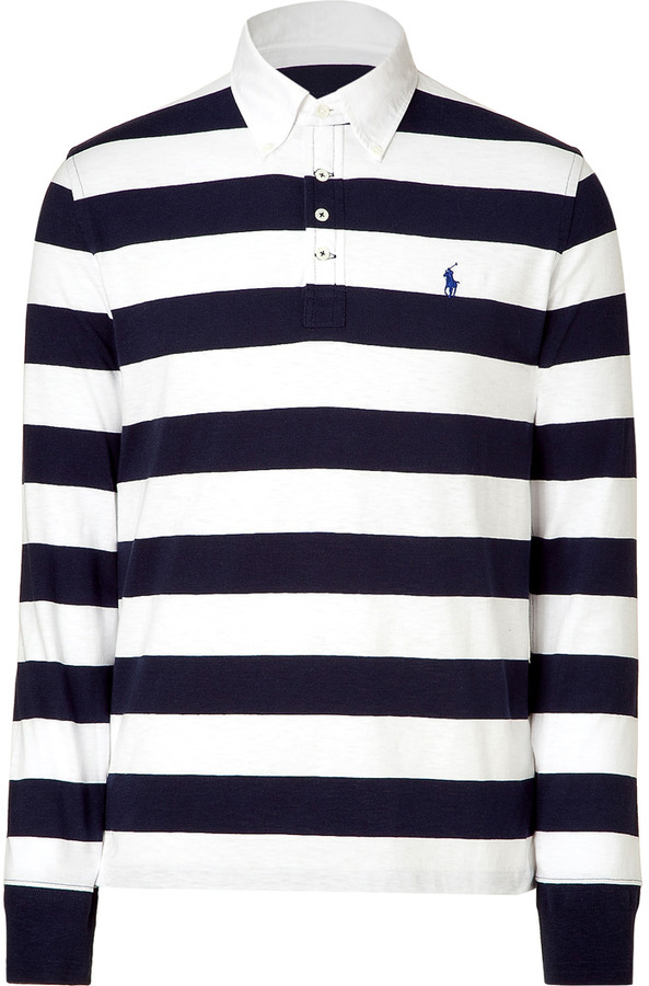 Ralph Lauren Classic oxford white and navy button down polo shirt