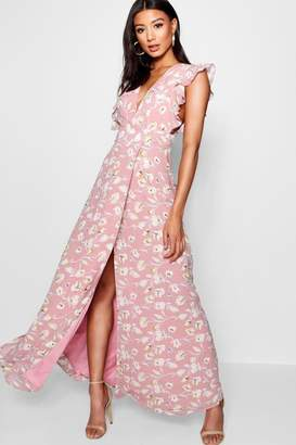 boohoo Floral Frill Detail Wrap Maxi Dress