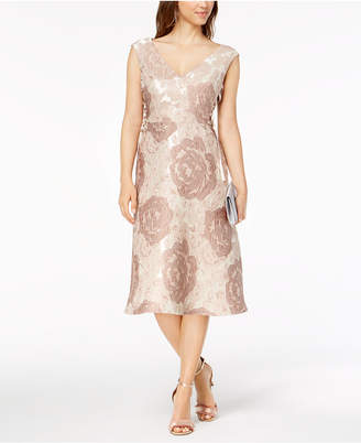 Adrianna Papell Lace-Up Floral Brocade Dress