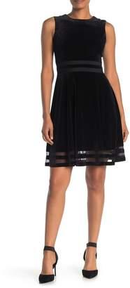 Modern American Designer Velvet Fit & Flare Dress