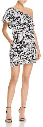 AQUA Floral One Shoulder Ruffle Dress - 100% Exclusive $88 thestylecure.com