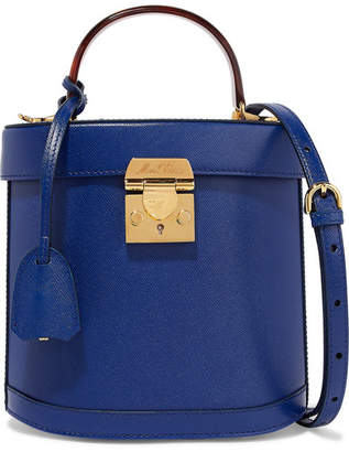 Mark Cross Benchley Textured-leather Shoulder Bag - Royal blue