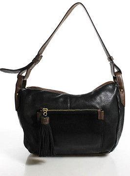 Perlina Black Brown Leather Zipper Top Adjustable Strap Shoulder Handbag $49 thestylecure.com