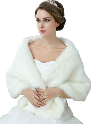 EllieHouse Faux Fur Wrap Jakcet Bolero Shawl For Wedding Dress Winter NJ13WT-M