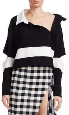 Monse Wide Stripe Polo Sweater