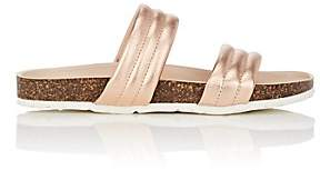 Barneys New York Women's Double-Band Metallic Leather Slide Sandals - Gold