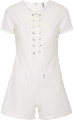 Solid & Striped + Staud Arabella Lace-up Cotton-seersucker Playsuit