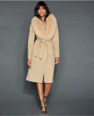 The Fur Vault Fox-Fur-Collar Wool Coat