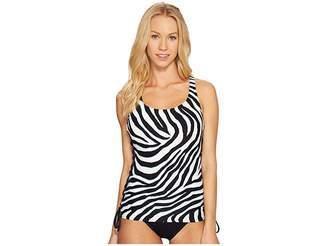 MICHAEL Michael Kors Quincy Zebra Lace-Up Tankini Women's Swimwear