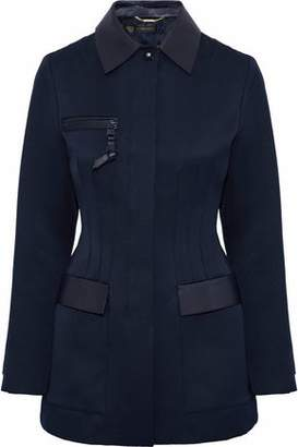 Versace Leather-Trimmed Cotton-Blend Faille Jacket