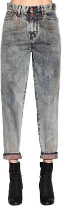 Marble Washed Cotton Denim Jeans