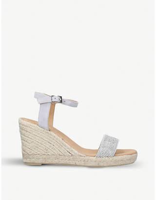 Carvela Krystal embellished suede wedge sandals