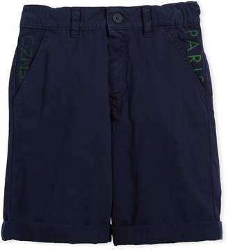 Kenzo Chino Shorts w/ Logo Pockets, Navy, Size 8-12