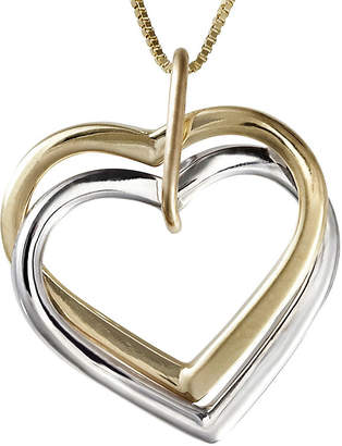 JCPenney FINE JEWELRY Two-Tone 14K Gold Interlocking Hearts Pendant Necklace