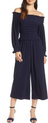 Chelsea28 Long Sleeve Off the Shoulder Smocked Jumpsuit