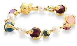 Marina B 8MM Pearl Multi Stone and 18K Yellow Gold Bracelet