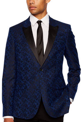 Jf J.Ferrar Formal Stretch Bright Blue Floral Slim Fit Sport Coat