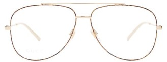 Gucci Metal Aviator Glasses - Womens - Gold
