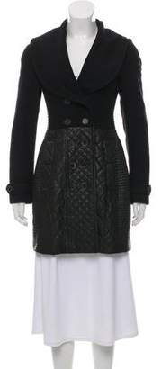 Burberry Leather Virgin Wool-Trimmed Double-Breasted Coat