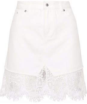 McQ Lace-Paneled Denim Mini Skirt
