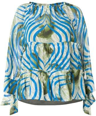 Odeeh colour-block print blouse