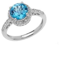 Lord & Taylor Sterling Silver Blue and White Topaz Ring
