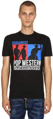 DSQUARED2 Pop Western Print Cotton Jersey T-Shirt