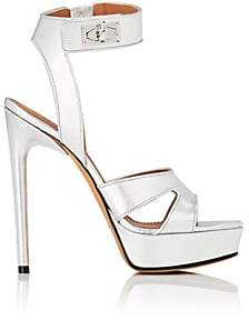 Givenchy Women's Shark Line Metallic Leather Platform Sandals-Silver