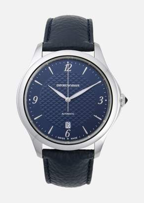 Emporio Armani Swiss Made Automatic Watch In Steel And Leather