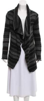 360 Cashmere Draped Wool Cardigan Black Draped Wool Cardigan