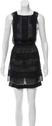 Alberta Ferretti Sleeveless Fringe-Trimmed Dress