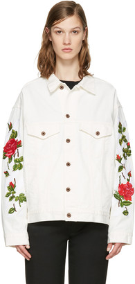 Off-White White Denim Diagonal Roses Jacket $925 thestylecure.com