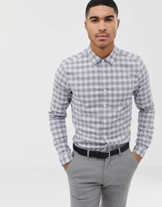 Asos Design DESIGN stretch slim smart work check shirt in blue