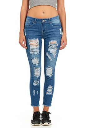 Cover Girl Women's Plus Size Ripped Torn Distressed Repaired Patched Slim Fray Skinny