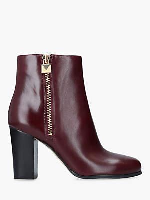 Michael Kors MICHAEL Margaret Block Heel Ankle Boots, Dark Red Leather