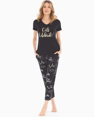 Cool Nights Ankle Length Pajama Set Celebrate Graphic Black