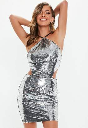 Missguided Silver Halter Neck Sequin Cut Out Dress
