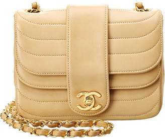 Chanel Beige Lambskin Leather Double Round Mini Flap Bag