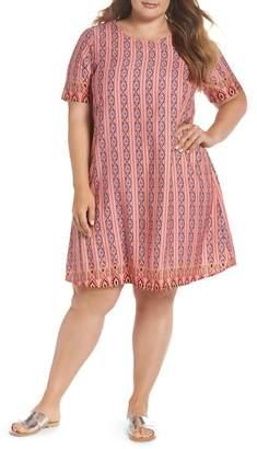 Glamorous Galmorous Border Print T-Shirt Dress (Plus Size)
