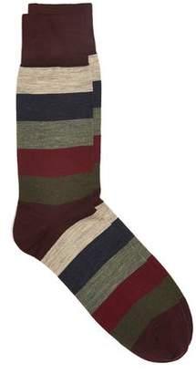 Corgi Wide Striped Socks in Port