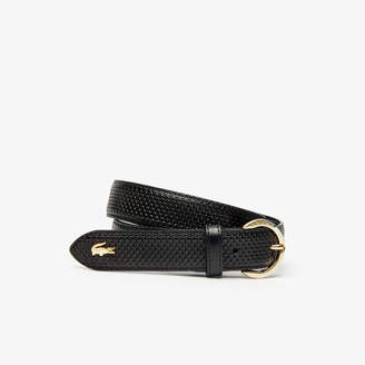 Lacoste Women's Engraved Round-Buckle Texturized Leather Belt