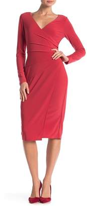 London Times Long Sleeve Ruched Dress