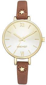 Nine West Women's Goldtone Brown Strap Watch
