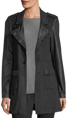 Neiman Marcus Ribbed Faux-Leather Jacket $115 thestylecure.com