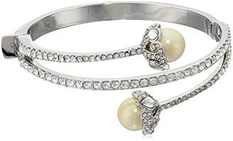 Carolee Garden of Pearly Delights Collection Women's Pearl and Crystal Hinged Cuff Bracelet
