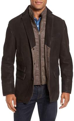 FLYNT Distressed Leather Hybrid Coat