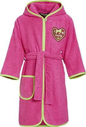 Playshoes Girl's Frottee-Bademantel Sweety mit Kapuze Bathrobe, Pink (pink), (Manufacturer size: /104)