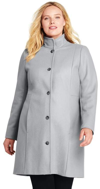 Grey Plus Fit And Flare Wool Blend Coat