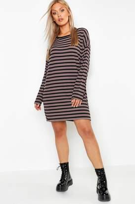 boohoo Plus Stripe Rib Long Sleeve Shift Dress