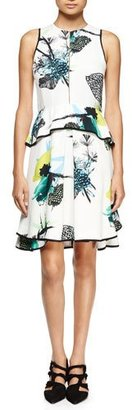 Proenza Schouler Sleeveless Ikebana-Print Peplum Dress, White/Blue/Green $1,550 thestylecure.com
